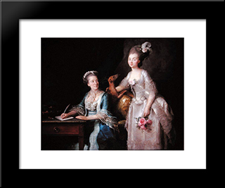 Portrait Of An Elderly Lady With Her Daughter:  Modern Black Framed Art Print by Anne Vallayer Coster