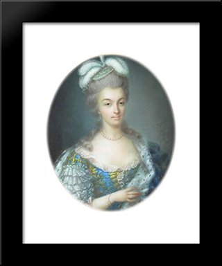 Portrait Of Marie Antoinette:  Modern Black Framed Art Print by Anne Vallayer Coster