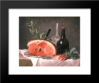 Still Life With A Ham:  Modern Black Framed Art Print by Anne Vallayer Coster