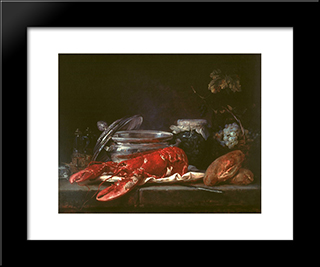 Still Life With Lobster:  Modern Black Framed Art Print by Anne Vallayer Coster