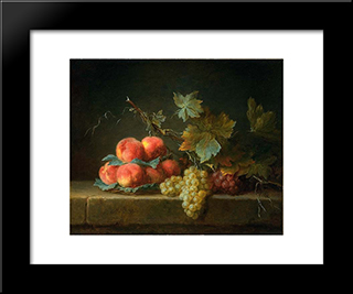Still Life With Peaches And Grapes:  Modern Black Framed Art Print by Anne Vallayer Coster