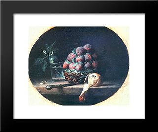 Still Life With Plums And A Lemon:  Modern Black Framed Art Print by Anne Vallayer Coster