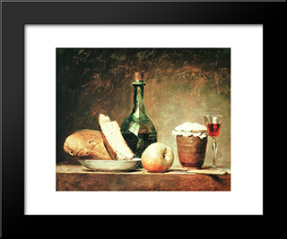 Still Life With Round Bottle:  Modern Black Framed Art Print by Anne Vallayer Coster