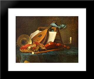 The Attributes Of Music:  Modern Black Framed Art Print by Anne Vallayer Coster