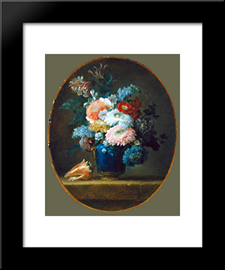 Vase Of Flowers:  Modern Black Framed Art Print by Anne Vallayer Coster