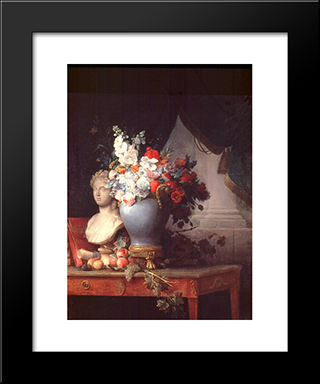 Vase Of Flowers With A Bust Of Flora:  Modern Black Framed Art Print by Anne Vallayer Coster