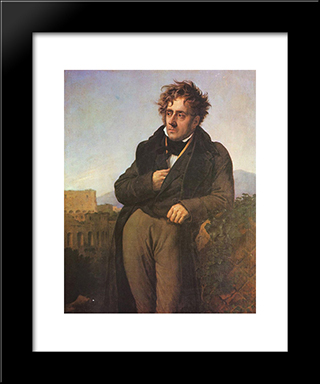 Chateaubriand Meditating On The Ruins Of Rome:  Modern Black Framed Art Print by Anne Louis Girodet