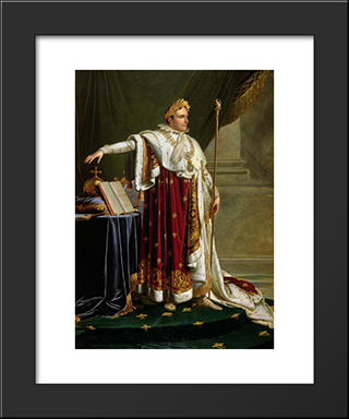 Napoleon I In Coronation Robes:  Modern Black Framed Art Print by Anne Louis Girodet