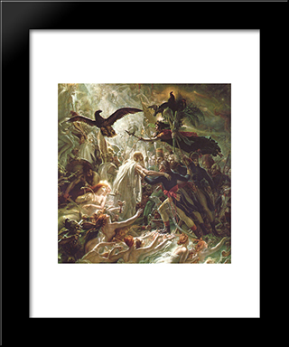 Ossian Receiving The Ghosts Of The French Heroes:  Modern Black Framed Art Print by Anne Louis Girodet