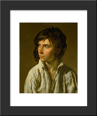 Portrait Of A Youth:  Modern Black Framed Art Print by Anne Louis Girodet