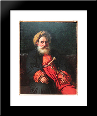 Portrait Of The Katchef Dahouth, Christian Mameluke:  Modern Black Framed Art Print by Anne Louis Girodet