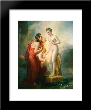 Pygmalion Et Galatee:  Modern Black Framed Art Print by Anne Louis Girodet