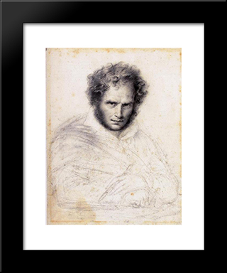 Self-Portrait:  Modern Black Framed Art Print by Anne Louis Girodet