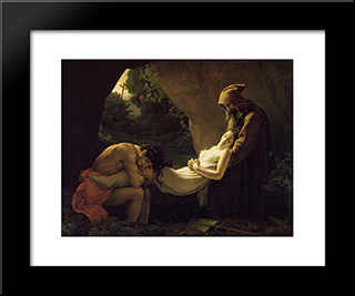 The Burial Of Atala:  Modern Black Framed Art Print by Anne Louis Girodet