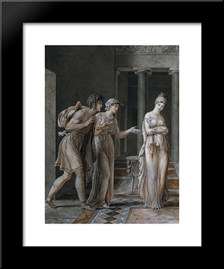 The Meeting Of Orestes And Hermione:  Modern Black Framed Art Print by Anne Louis Girodet