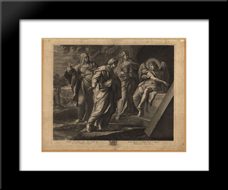 Angel Announcing The Resurrection Of Christ To The Three Marys:  Modern Black Framed Art Print by Annibale Carracci