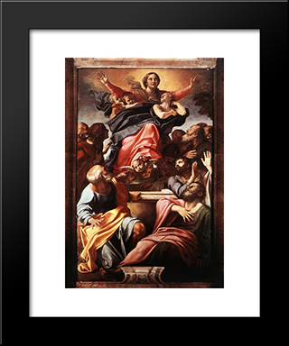 Assumption Of The Virgin Mary:  Modern Black Framed Art Print by Annibale Carracci