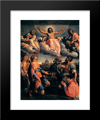 Christ In Glory:  Modern Black Framed Art Print by Annibale Carracci