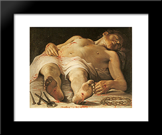 Corpse Of Christ:  Modern Black Framed Art Print by Annibale Carracci