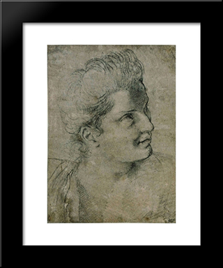 Face A Woman Turned Towards The Right:  Modern Black Framed Art Print by Annibale Carracci