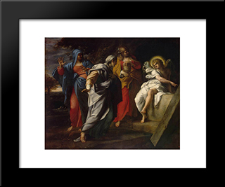 Holy Women At Christ' S Tomb:  Modern Black Framed Art Print by Annibale Carracci