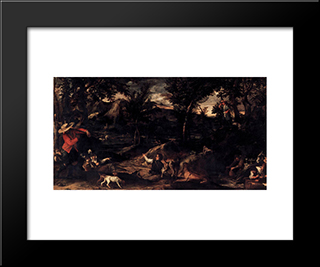 Hunting:  Modern Black Framed Art Print by Annibale Carracci