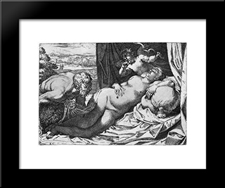 Jupiter And Antiope:  Modern Black Framed Art Print by Annibale Carracci