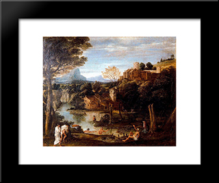 Landscape With Bathers:  Modern Black Framed Art Print by Annibale Carracci