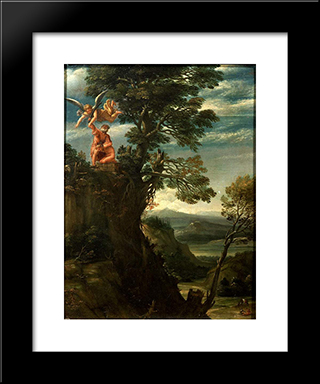 Landscape With The Sacrifice Of Isaac:  Modern Black Framed Art Print by Annibale Carracci