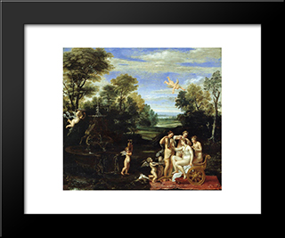Landscape With The Toilet Of Venus:  Modern Black Framed Art Print by Annibale Carracci