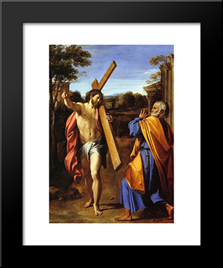 Lord, Whither Goest Thou:  Modern Black Framed Art Print by Annibale Carracci