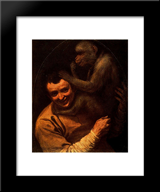 Man With Monkey:  Modern Black Framed Art Print by Annibale Carracci