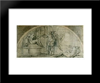 Mercury Protecting Ulysses From The Charms Of Circe:  Modern Black Framed Art Print by Annibale Carracci