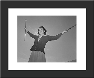 Baton Practice At The Manzanar War Relocation Center:  Modern Black Framed Art Print by Ansel Adams