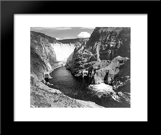Boulder Dam:  Modern Black Framed Art Print by Ansel Adams