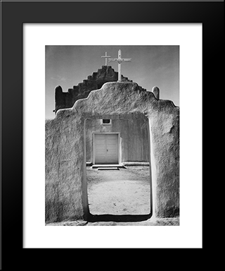 Church, Taos Pueblo:  Modern Black Framed Art Print by Ansel Adams