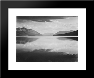Evening, Mcdonald Lake, Glacier National Park:  Modern Black Framed Art Print by Ansel Adams