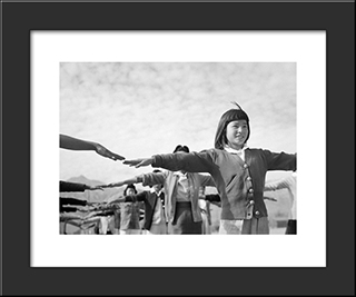 Female Interns Practicing Calisthenics At Manzanar Internment Camp:  Modern Black Framed Art Print by Ansel Adams