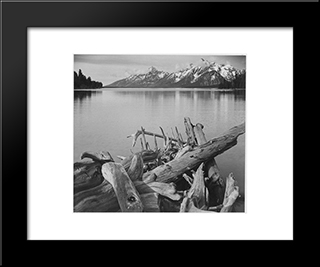 Grand Teton National Park, Wyoming:  Modern Black Framed Art Print by Ansel Adams