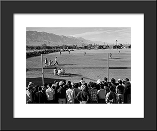 Manzanar Baseball:  Modern Black Framed Art Print by Ansel Adams