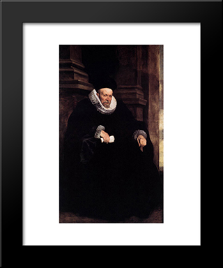 An Aristocratic Genoese:  Modern Black Framed Art Print by Anthony van Dyck