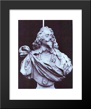 Charles I, King Of England, From Three Angles:  Modern Black Framed Art Print by Anthony van Dyck