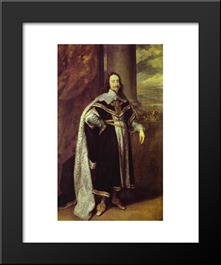 Charles I, King Of England:  Modern Black Framed Art Print by Anthony van Dyck