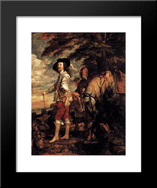 Charles I, King Of England At The Hunt:  Modern Black Framed Art Print by Anthony van Dyck