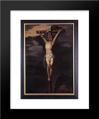 Christ On The Cross:  Modern Black Framed Art Print by Anthony van Dyck