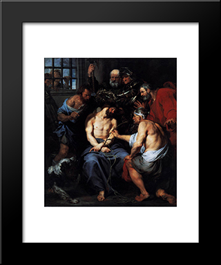 Crowning With Thorns:  Modern Black Framed Art Print by Anthony van Dyck