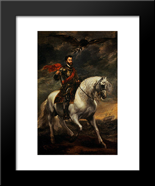 Emperor Charles V On Horseback:  Modern Black Framed Art Print by Anthony van Dyck