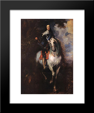 Equestrian Portrait Of Charles I, King Of England:  Modern Black Framed Art Print by Anthony van Dyck