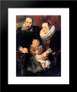 Family Portrait:  Modern Black Framed Art Print by Anthony van Dyck