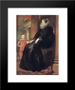 Genoese Noblewoman With Her Son:  Modern Black Framed Art Print by Anthony van Dyck